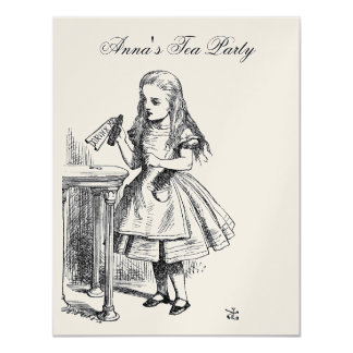 GOLD Alice in Wonderland Tea Party Birthday Card