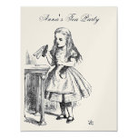 GOLD Alice in Wonderland Tea Party Birthday 4.25x5.5 Paper Invitation Card