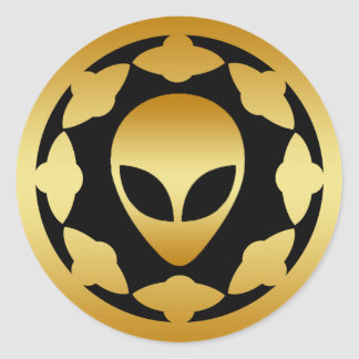 GOLD ALIEN HEAD AND SPACE SHIPS ROUND STICKER