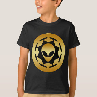 GOLD ALIEN HEAD AND SPACE SHIPS T-Shirt