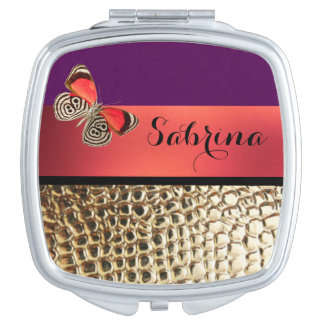 Gold Alligator Print Butterfly Typography Compact Mirror