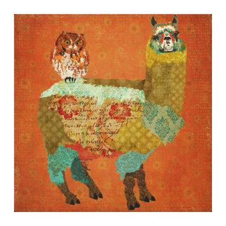 Gold Alpaca & Amber Owl Canvas Canvas Print