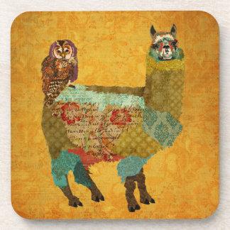 Gold Alpaca & Amethyst Owl Coaster