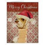 Gold Alpaca Retro Red Christmas Card