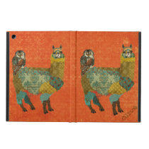Gold Alpaca & Teal Owl Amber Case Cover For iPad Air