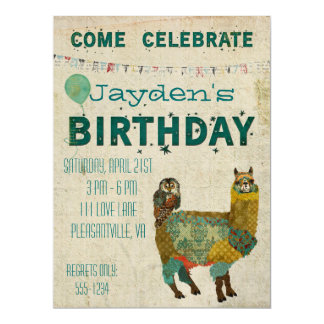 Gold Alpaca Teal Owl Birthday Invitation