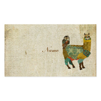 Gold Alpaca & Teal  Owl Business Card/Tags Double-Sided Standard Business Cards (Pack Of 100)