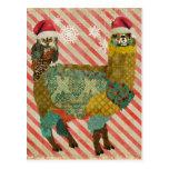 Gold Alpaca & Teal Owl Christmas Postcard