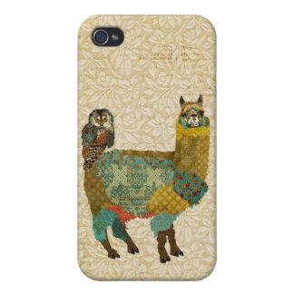 Gold Alpaca & Teal Owl iPhone Case