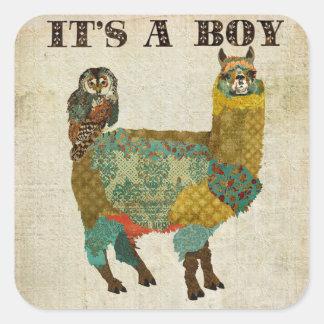 "Gold Alpaca Teal Owl ""Its A Boy"" Sticker"