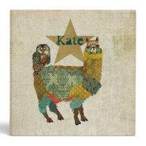 Gold Alpaca & Teal Owl Personalized Notebook 3 Ring Binder