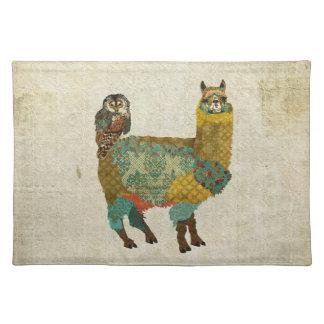 Gold Alpaca & Teal Owl Placemat