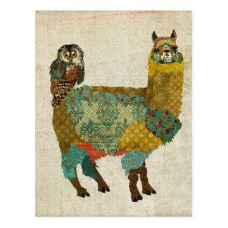 Gold Alpaca & Teal Owl Postcard