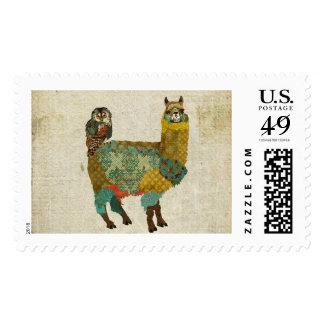 Gold Alpaca & Teal Owl Stamp
