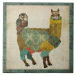 Gold Alpaca Teal Owl Tile