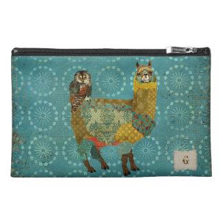 Gold Alpaca Teal Owl Travel Accessory Bag