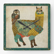 Gold Alpaca & Teal Owl Wall Clock