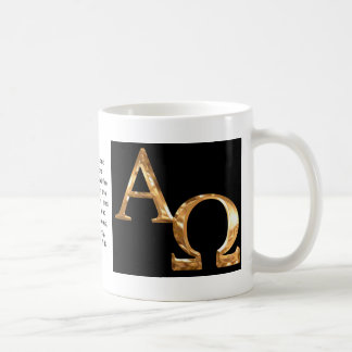 Gold Alpha and Omega symbols on black background. Classic White Coffee Mug