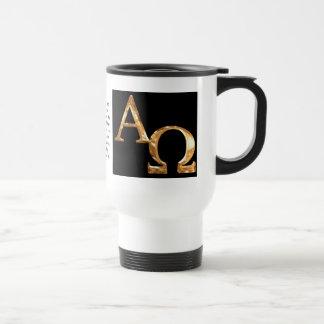 Gold Alpha and Omega symbols on black background. 15 Oz Stainless Steel Travel Mug