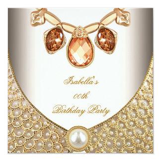 Gold Amber Pearls Jewels Image Cream Birthday Invitation