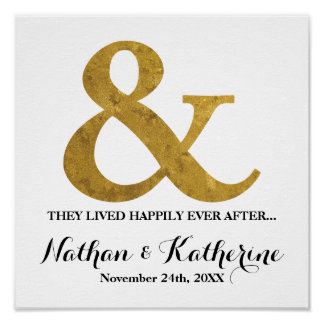 Gold Ampersand Happily Ever After Wedding Date Poster