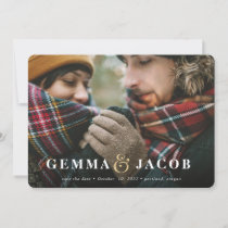 Gold ampersand photo save the date holiday card