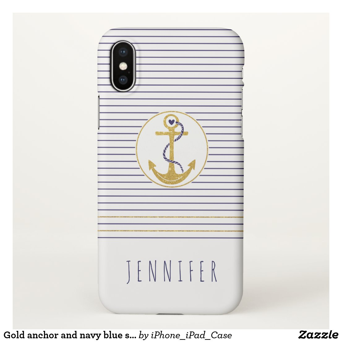 Gold anchor and navy blue stripes nautical
