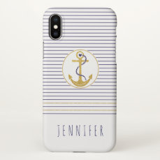 Gold anchor and navy blue stripes nautical iPhone x case