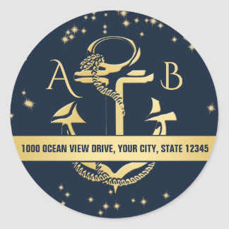 Gold Anchor and Starry Sky Classic Round Sticker