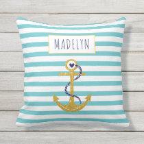 Gold anchor aqua striped pattern summer nautical throw pillow