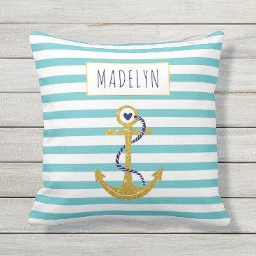 Beach Themed Gold anchor aqua striped pattern summer nautical throw pillow