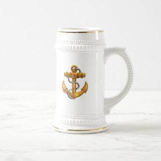 Gold Anchor Beer Stein