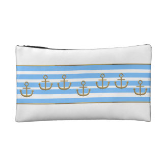 gold anchor blue white background cosmetic bag