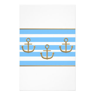 gold anchor blue white background stationery