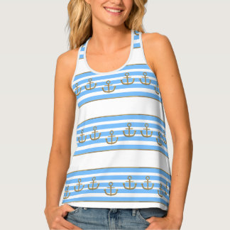 gold anchor blue white background tank top