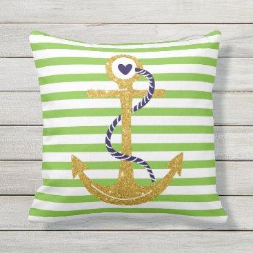 Beach Themed Gold anchor blush green, white stripes nautical throw pillow