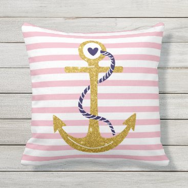 Beach Themed Gold anchor blush pink, white stripes nautical outdoor pillow
