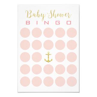 Gold Anchor Cute 5x5 Baby Shower Bingo Card