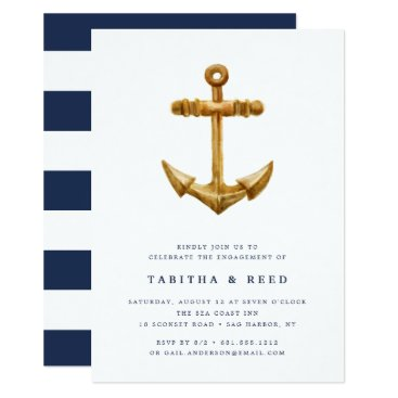 Beach Themed Gold Anchor | Engagement Party Invitation