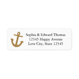Gold Anchor Glitter Label