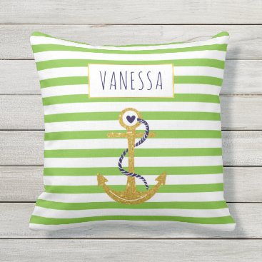 Beach Themed Gold  anchor green striped pattern trendy nautical throw pillow