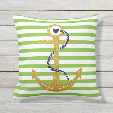 Beach Themed Gold anchor green, white stripes nautical throw pillow