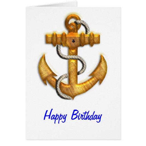 Gold Anchor Greeting Card