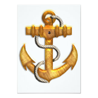 "Gold Anchor 5"" X 7"" Invitation Card"