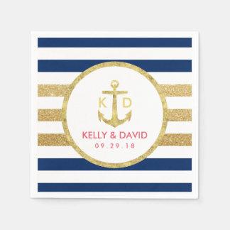 Gold Anchor Modern Stripes Nautical Wedding Napkin