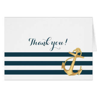 Gold Anchor Nautical Baby Shower Thank You Stationery Note Card