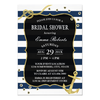 Gold Anchor Nautical Navy Stripes Bridal Shower Card