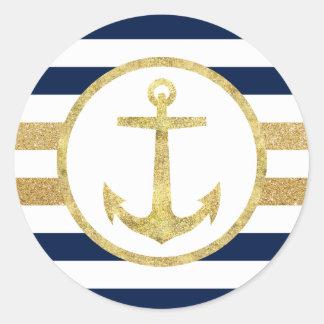 Gold Anchor Nautical Navy Stripes Envelope Seal