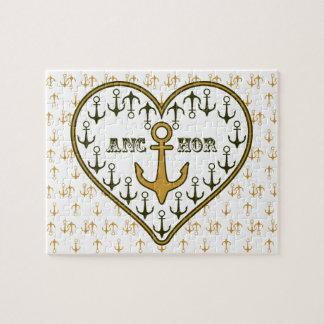 Gold Anchor Nautical Print Jigsaw Puzzle
