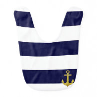 Gold anchor nautical stripes bibs